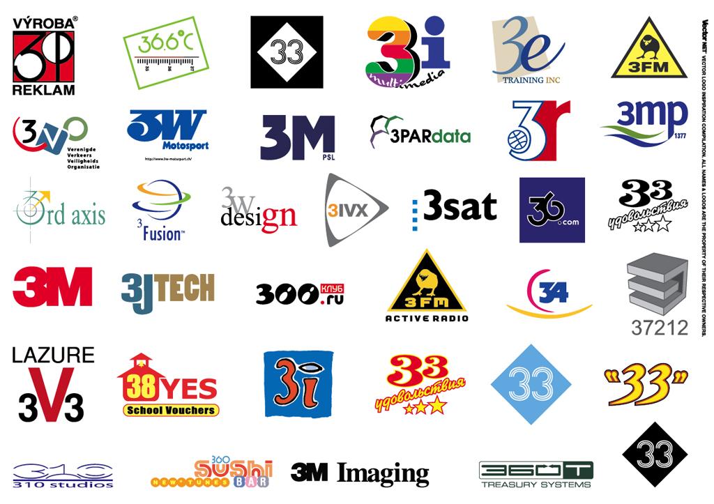 Logo Inspiration: 1-2-3 Vector Logos