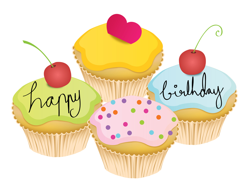 Birthday Muffins Vector Cake Illustrations