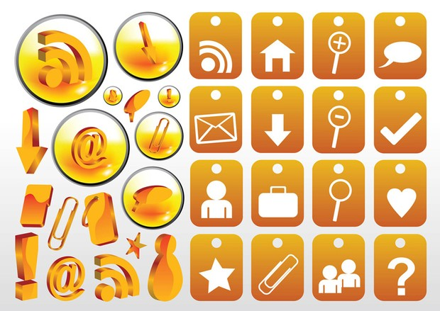 Collection of web vector icons, with RSS, home, mail, @ and other vector signs