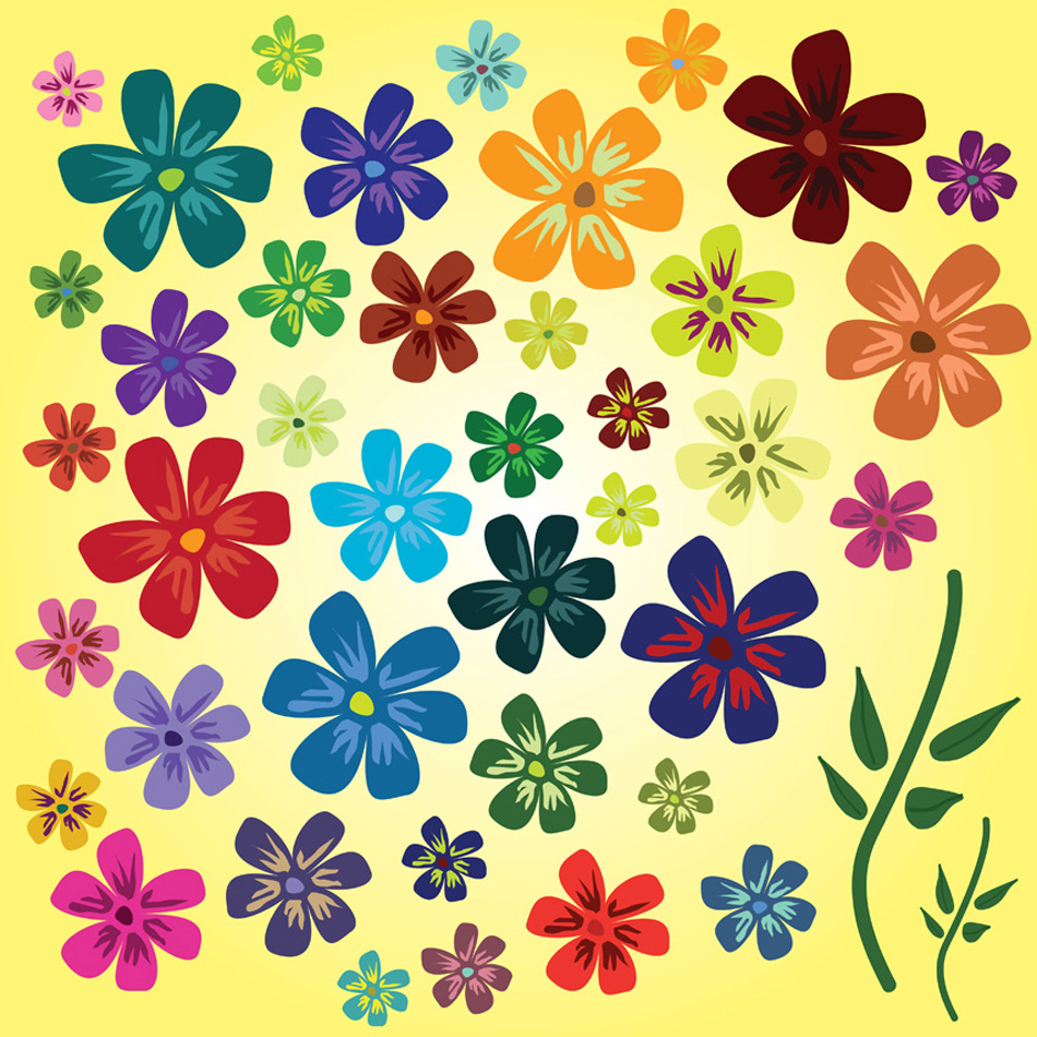 14 free spring vectors colorful flowers on yellow background mightylinksfo