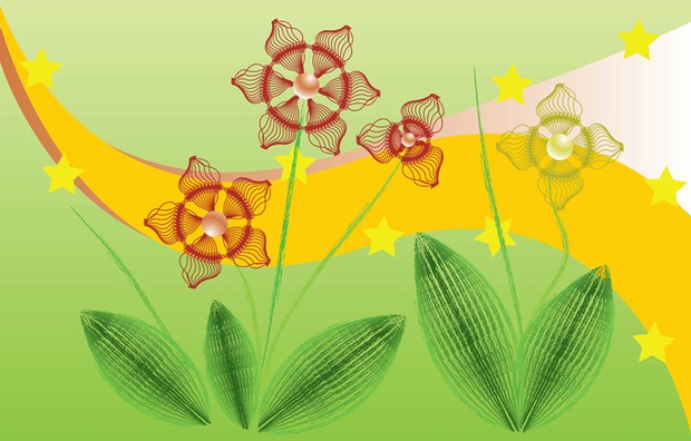 Vector flowers with yellow stars