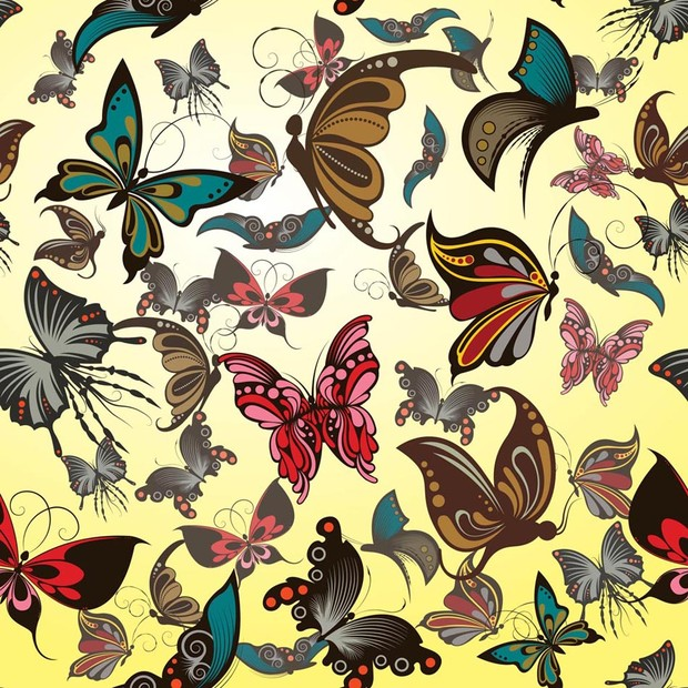 Pattern of colorful butterflies on yellow background