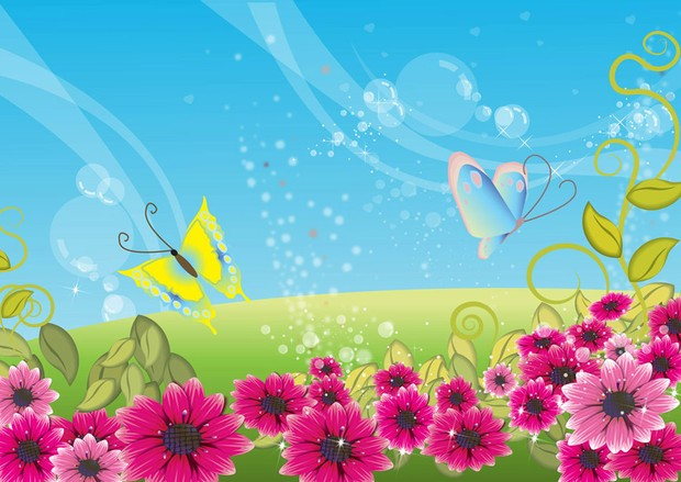 Colorful landscape with pink flowers, yellow butterfly and blue sky