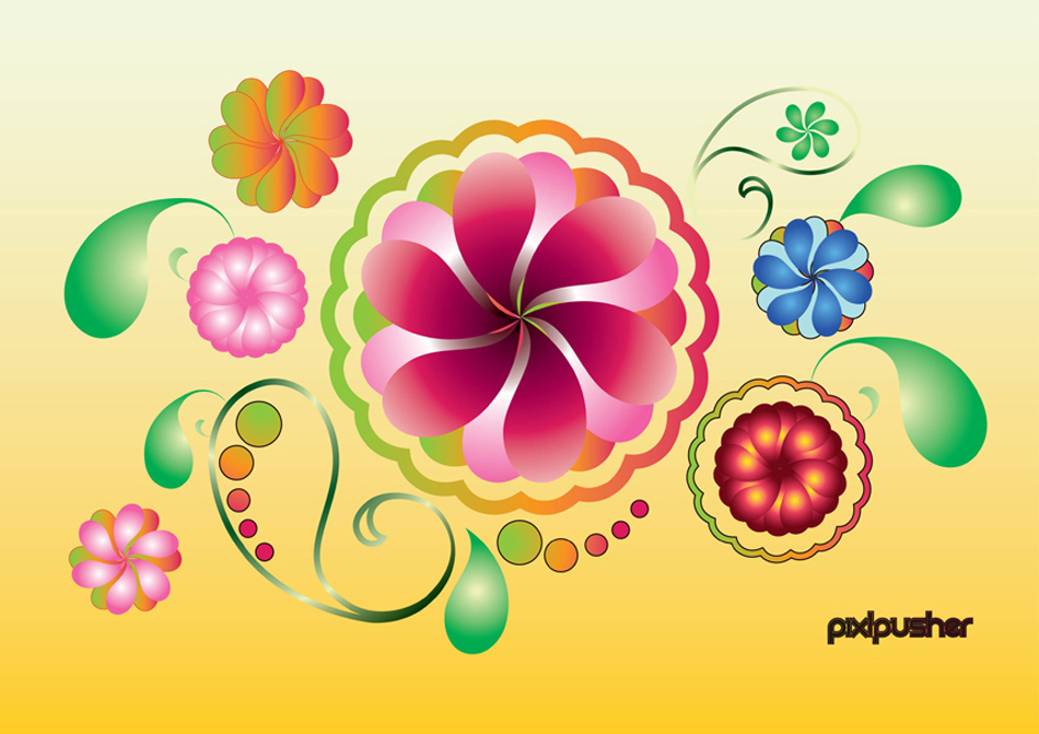 14 free spring vectors colorful round flowers mightylinksfo