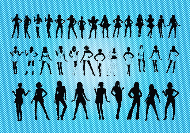 a set of sexy silhouette girls posing in different cloth