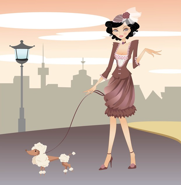 Elegant urban woman with small accessory dog