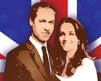 Prince William and Princess Kate Vector Art