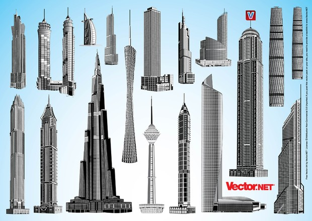Burj Khalifa, Guanghou TV Tower, Greenland Square Zifeng Tower, Borj e Milad, Guanzjhou Twin Tower West, Trump International Tower & Hotel, Princess Tower, Marina 101, Al Hamra Tower, Marina 23, Emirates Park Towers, Ice Tower, Elite Residence, Mercury Tower, Sky Tower, JW Marriott Tower