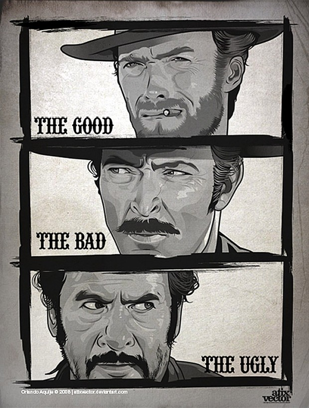 The Good, The Bad & The Ugly Vector Movie Poster by AtixVector