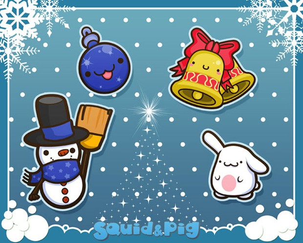 Snowman, Bunny, Bell & Ornaments by SquidPig